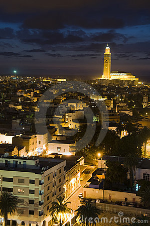 Hassan II mosque Casablanca Morocco  night