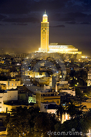 Free Hassan II Mosque Night Scene Casablanca Morocco Stock Photography - 9840732