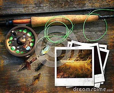 Haste de pesca da mosca com retratos