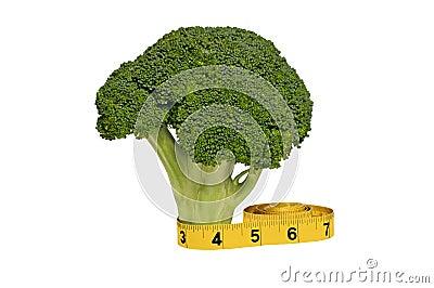 Haste fresca dos brócolos e fita de medição