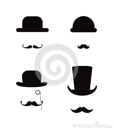 Free Hat And Moustache Icon Set Stock Photo - 33722850