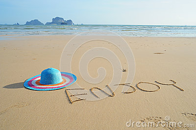 Hat on Beach and bule sky  in Krabi Thailand