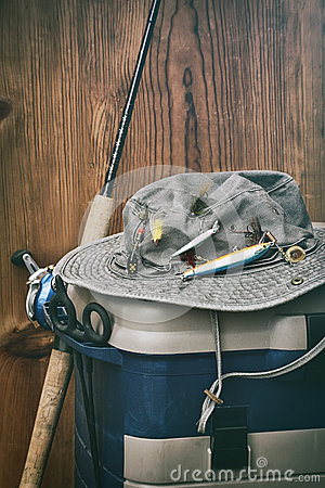 Hat with fishing equipment stock photo image 41491870 for Wall fishing tools