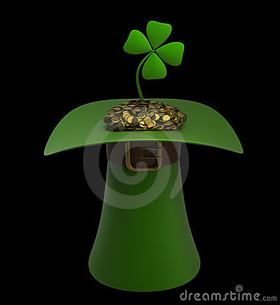 Hat with gold and clovers isolated