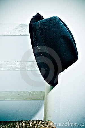 Hat resting on chair