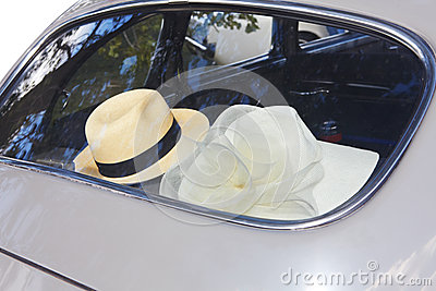 Hat and retro car