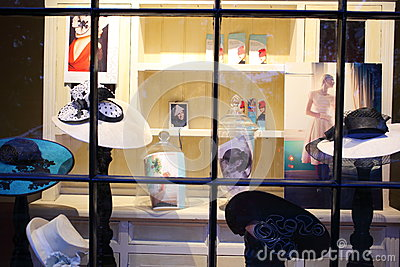 Hat store window display Editorial Photography