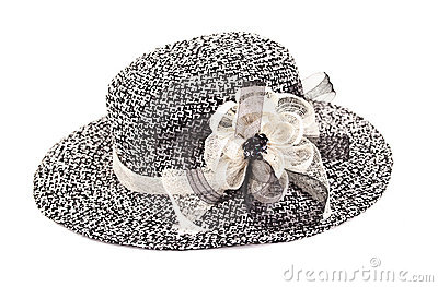 Hat with tape and flower