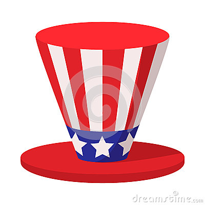 Hat in the USA flag colors cartoon icon Vector Illustration