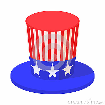 Hat in the USA flag colors icon, cartoon style Vector Illustration