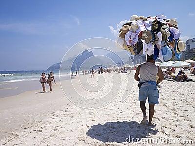 Hat Vendor Ipanema Beach Rio de Janeiro Skyline Editorial Photo