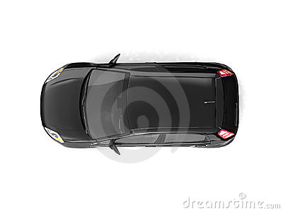 Hatchback black car top view