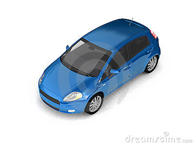 Hatchback blue car top view