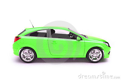 Hatchback green car side view