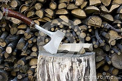 Hatchet sticking in a stump