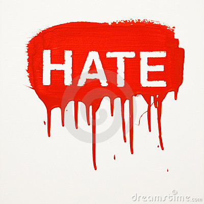 Hate painted on wall.