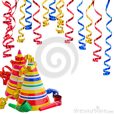 Free Hats And Serpentine For Birthday Party Stock Photos - 31079293