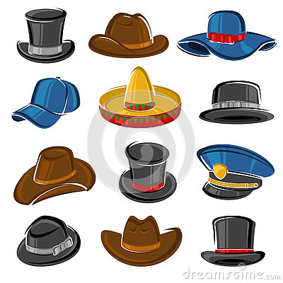 Free Hats Collection Set. Vector Royalty Free Stock Photos - 75685708