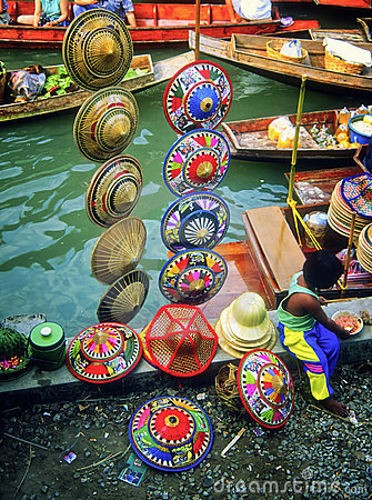 Hats, Floating Market, Thailand Editorial Photography