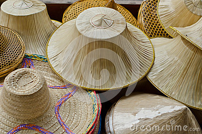 Hats made of palm leaves and bamboo.