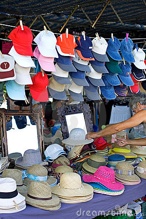 Hats for sale at a Spanish Sunday market