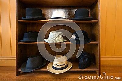 Hats on shelves