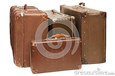 Haufen der alten Koffer