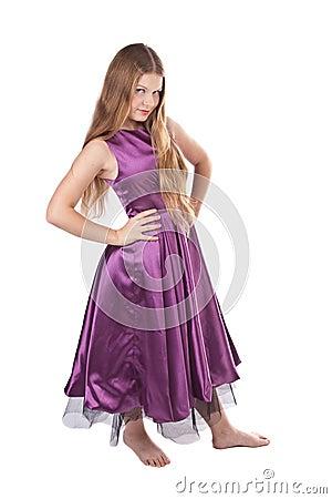 Haughty girl in violet dress