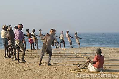 Hauling in fishing nets Editorial Photography