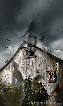 Free Haunted Barn With Ghosts Flying And Dark Skies Royalty Free Stock Images - 20283479