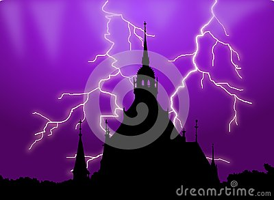 Haunted building silhouette with lightening
