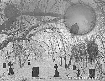 Haunted Halloween graveyard in woods