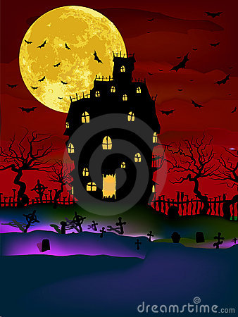 Haunted House on a Graveyard hill. EPS 8