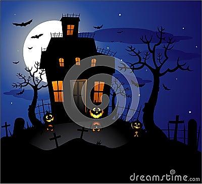 Haunted House Halloween Background Stock Photos - Image ...