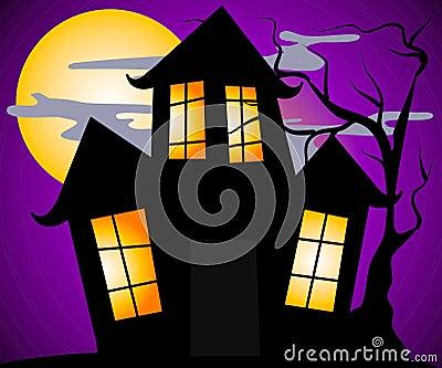 Haunted House Halloween Scene