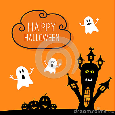 Free Haunted House, Pumpkins And Ghost. Cloud In The Royalty Free Stock Photography - 59501507