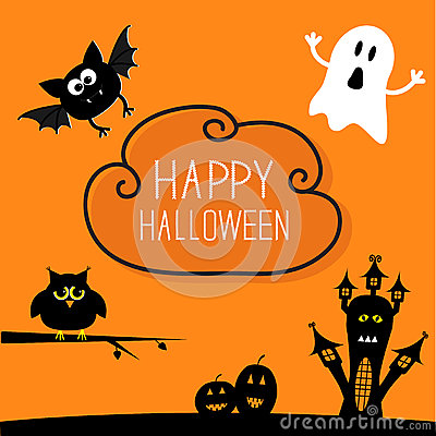 Free Haunted House, Pumpkins, Owl, Bat, Ghost. Cloud In Stock Images - 59345264