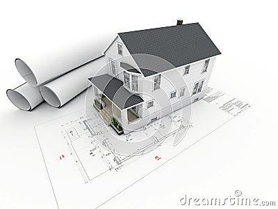 haus auf architekturzeichnung mit gerollten seiten stock