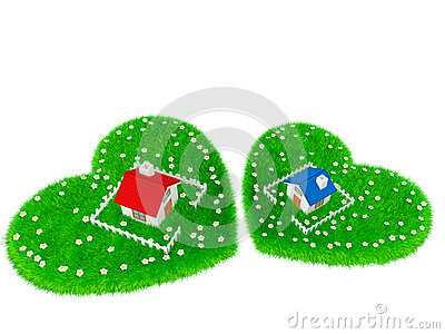Haus ist auf Wiese in Form eines Herzens