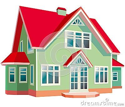 Haus Mit Rotem Dach Lizenzfreie Stockbilder Bild 19298469