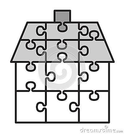 Haus von den Puzzlespielen