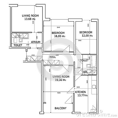 hause plan of drawing building stock image image 25371371. Black Bedroom Furniture Sets. Home Design Ideas