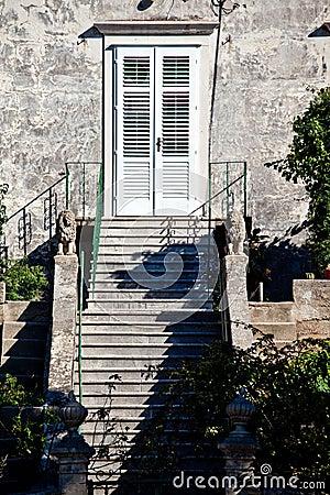 Hauseingang mit treppe und strauch stockfoto   bild: 51091448