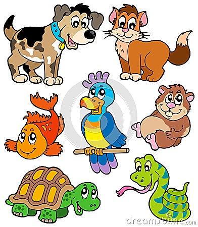 Haustierkarikaturansammlung