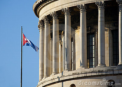 Havana Capitolio with cuban flag