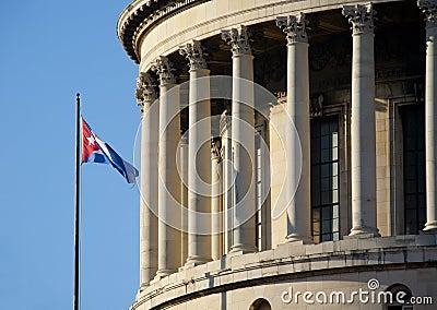 Havana Capitolio with cuban flag