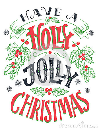 Free Have A Holly Jolly Christmas Hand Lettering Stock Photography - 80907262