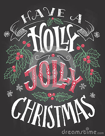 Free Have A Holly Jolly Christmas Hand Lettering Stock Photography - 80910252