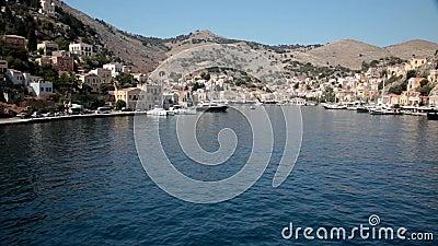 Haven van Symi, Griekenland stock footage