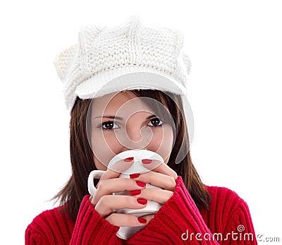 Having a cup of warm tea